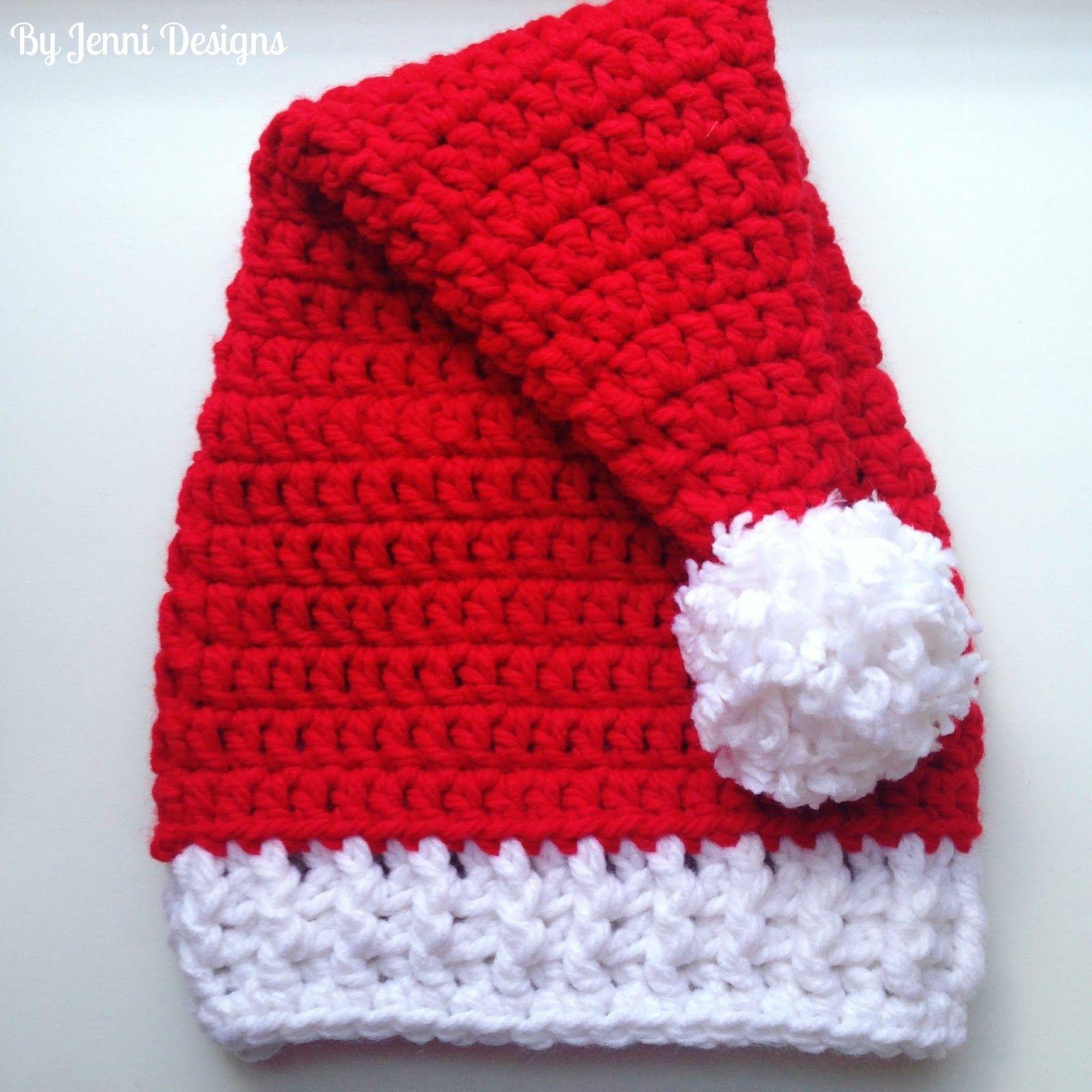 Free Crochet Pattern Chunky Santa Hat In 4 Sizes Crochet Patterns