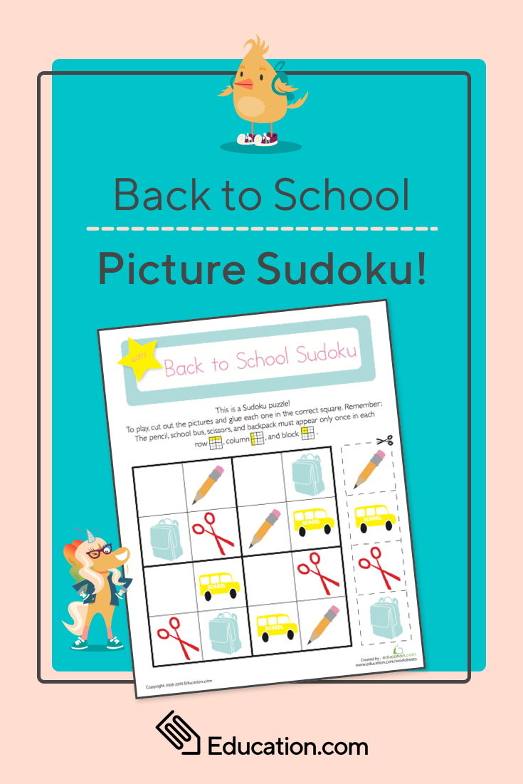 Picture Sudoku: Back to School | Back-to-School Activities ...