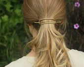 Brass hair slide large metal hair barrette rustic copper hair clip minimalist hair accessories up-do hair barrette pony tail tie for her