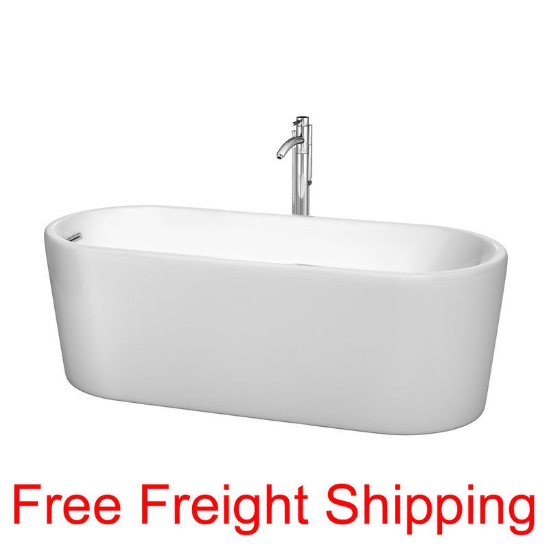 """View the Wyndham Collection WCBTK151167 Ursula 67"""" Free Standing Acrylic Soaking Tub with Reversible Drain, Pop-Up Drain Assembly, and Overflow - Tub Filler Not Included at FaucetDirect.com."""