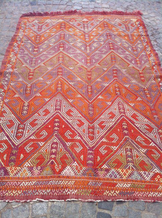 "Turkish CICIM Kilim Rug, Decorative Orange Red  Kilim Rug, Handwoven Wool Kilim Rug  63.77"" x 89.37 inch  FREE SHIPPING"