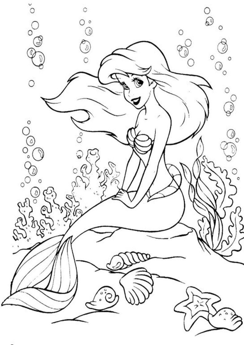 Kolorowanka Syrenka Ariel Bajka Disney Mala Syrenka Nr 17