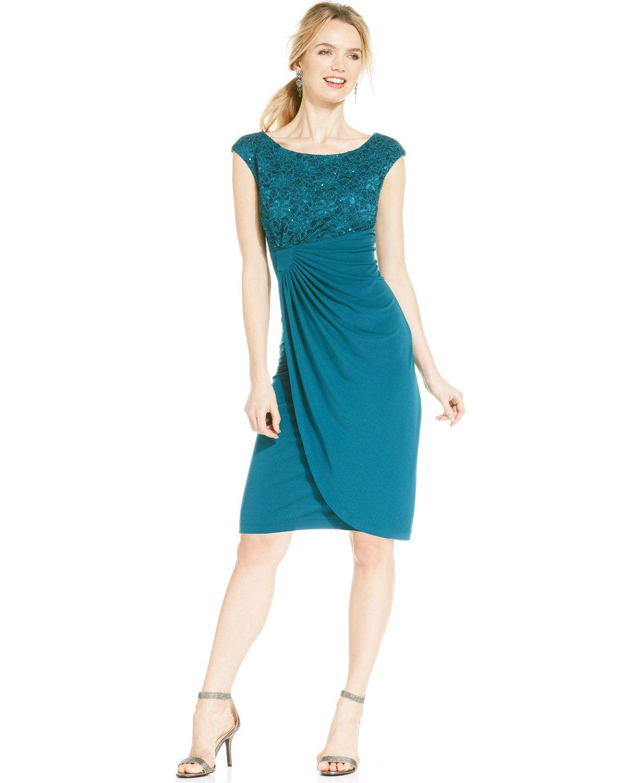 Connected Petite Sequin Lace Faux-Wrap Dress | macys.com | Groom Mom ...