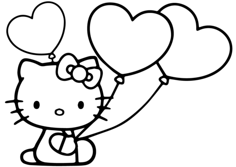 Hello Kitty With Heart Balloons Coloring Page Hello Kitty Coloring Kitty Coloring Hello Kitty Colouring Pages