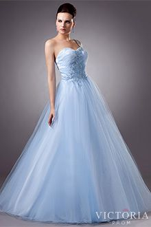 Light Blue Ball Gown Light Blue Ball Gown Floor Length Tulle One