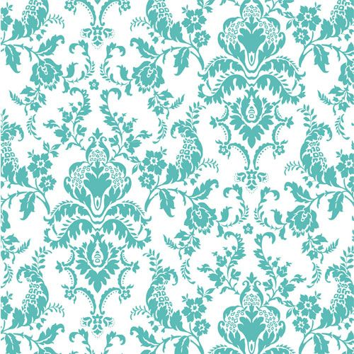 Tiffany Blue Damask Cotton Jersey Blend Knit Fabric $6.10 ...