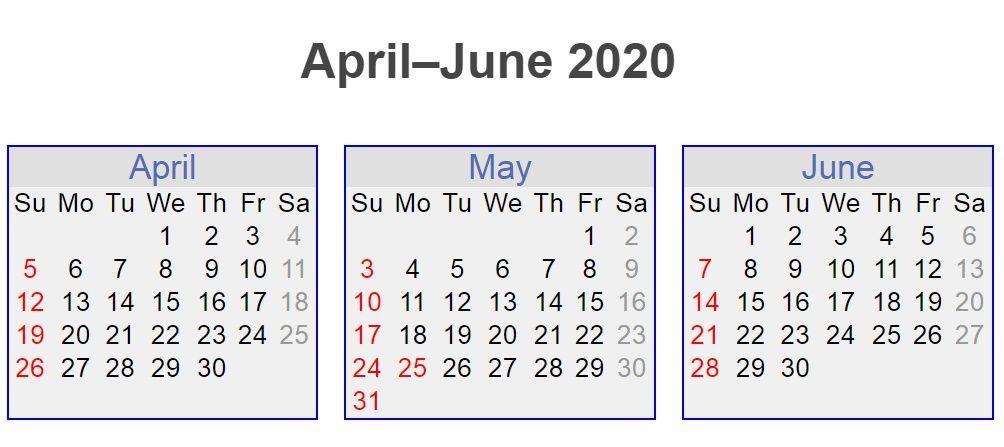 April May June 2020 3 Months Calendar April Calendar June