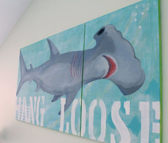 Large Hammerhead Shark Triptych Original Art Painting by MangoSeed, $375.00...and its now Brocks!