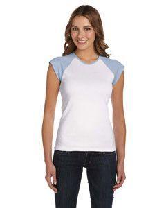 54db80508e Bella + Canvas Ladies' Stretch Rib Cap-Sleeve Contrast Raglan T-Shirt B2020  WHITE/BABY BLUE