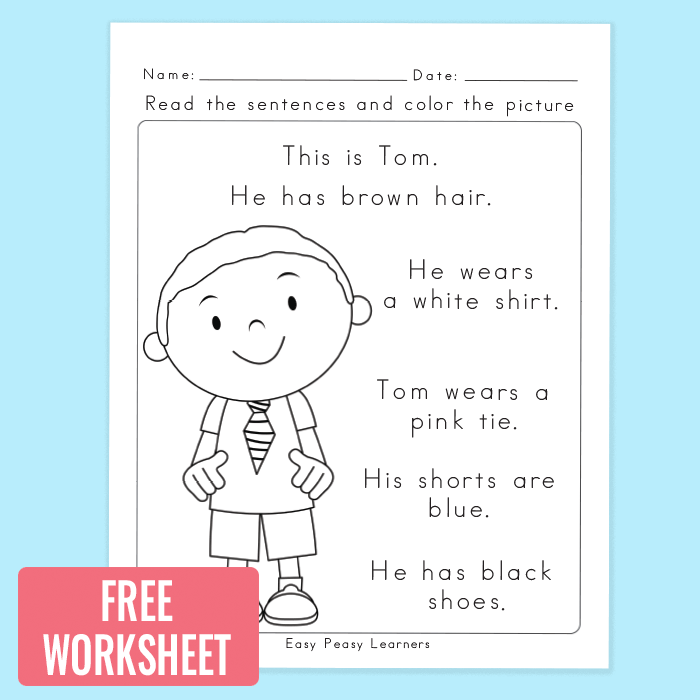 Free Read and Color Reading Comprehension Worksheet | Kindergarten ...
