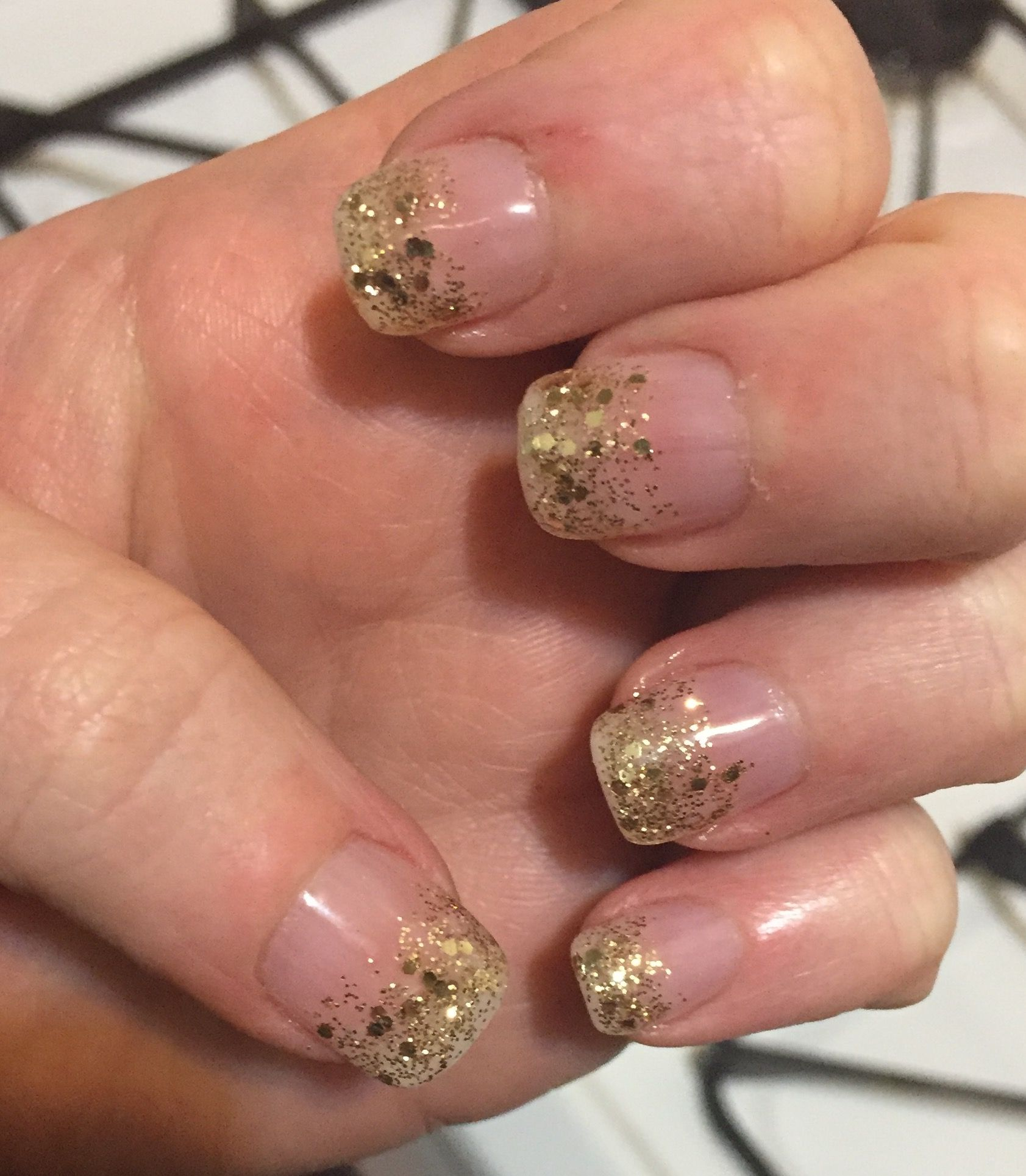 Gold tip nails with gel color and sns dip powder application ...
