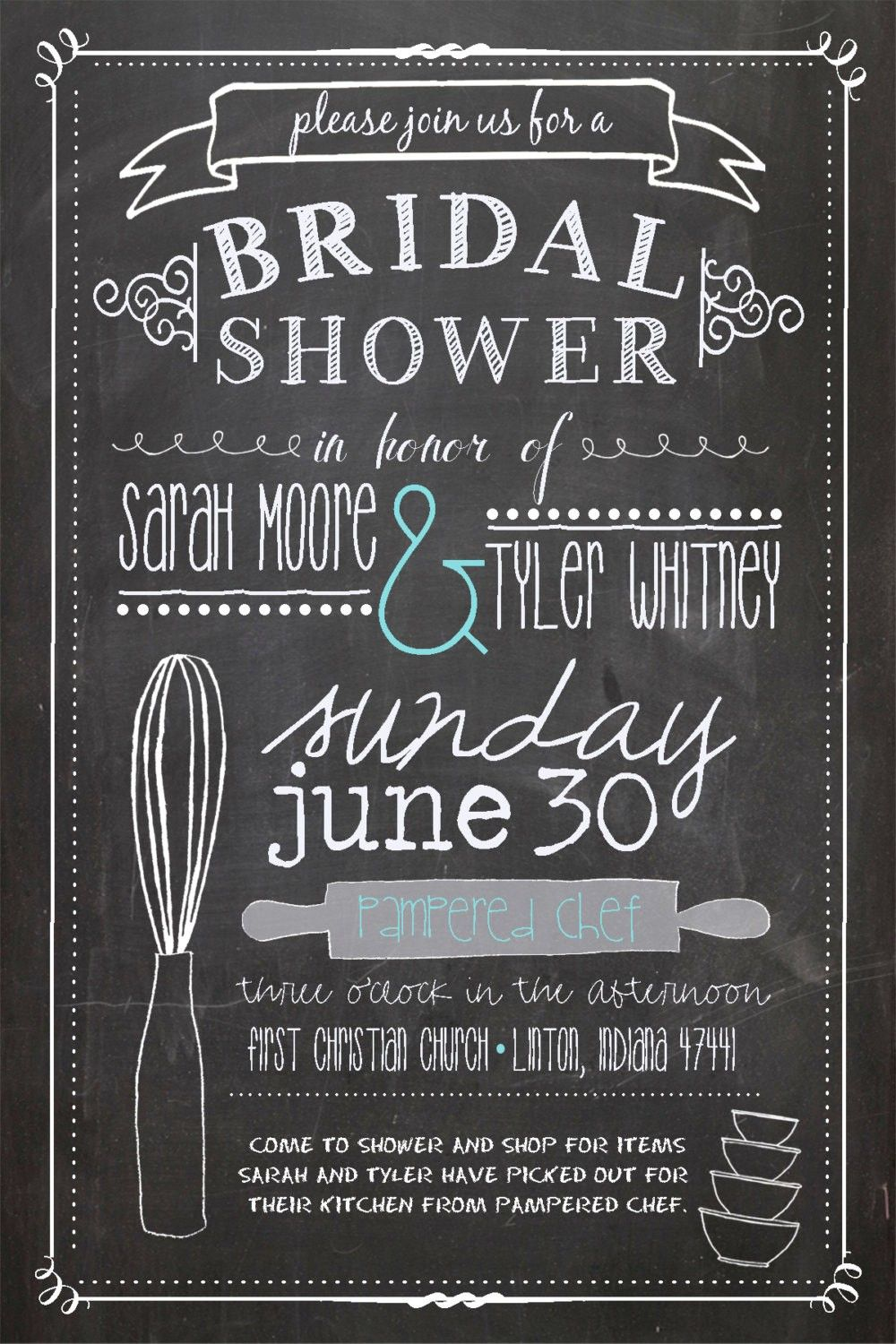 Pampered chef sample invitations bridal shower pinterest do this for the kitchen party kitchen themed bridal shower invitation chalkboard style pampered chef no filmwisefo Image collections