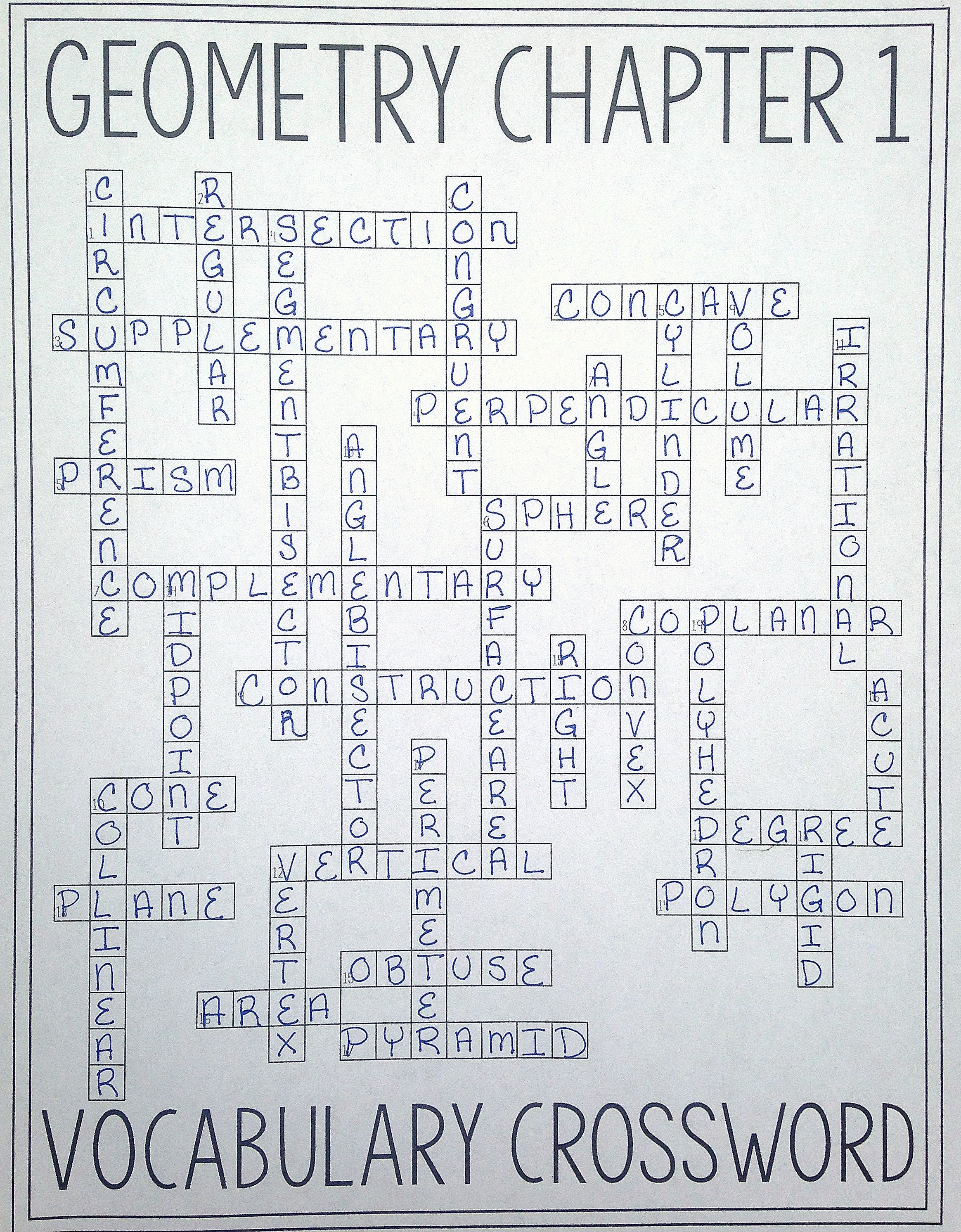 Geometry Chapter 1 Vocabulary Crossword