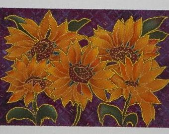 SUNFLOWERS Birthday Card Postcard Mom Friend Gift Under 10 Him Her Relative Hello Thank You Housewarming Decor 4x6 Fabric Quilted