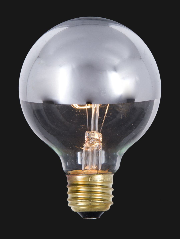 3 Inch 40 Watt Globe Clear Light Bulb With Silver Bowl 47151 Light Bulb Clear Light Bulbs Silver Bowl