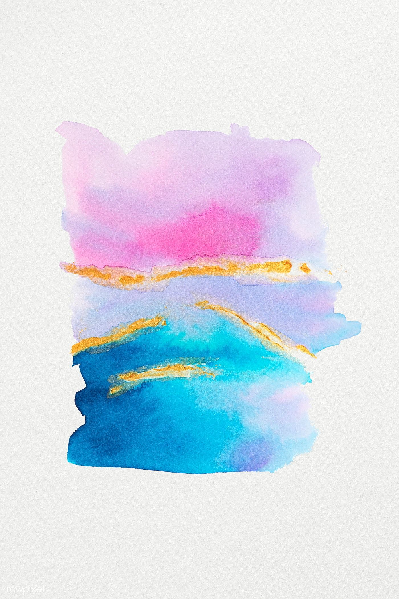 Colorful Shimmering Watercolor Brush Strokes Illustration Free