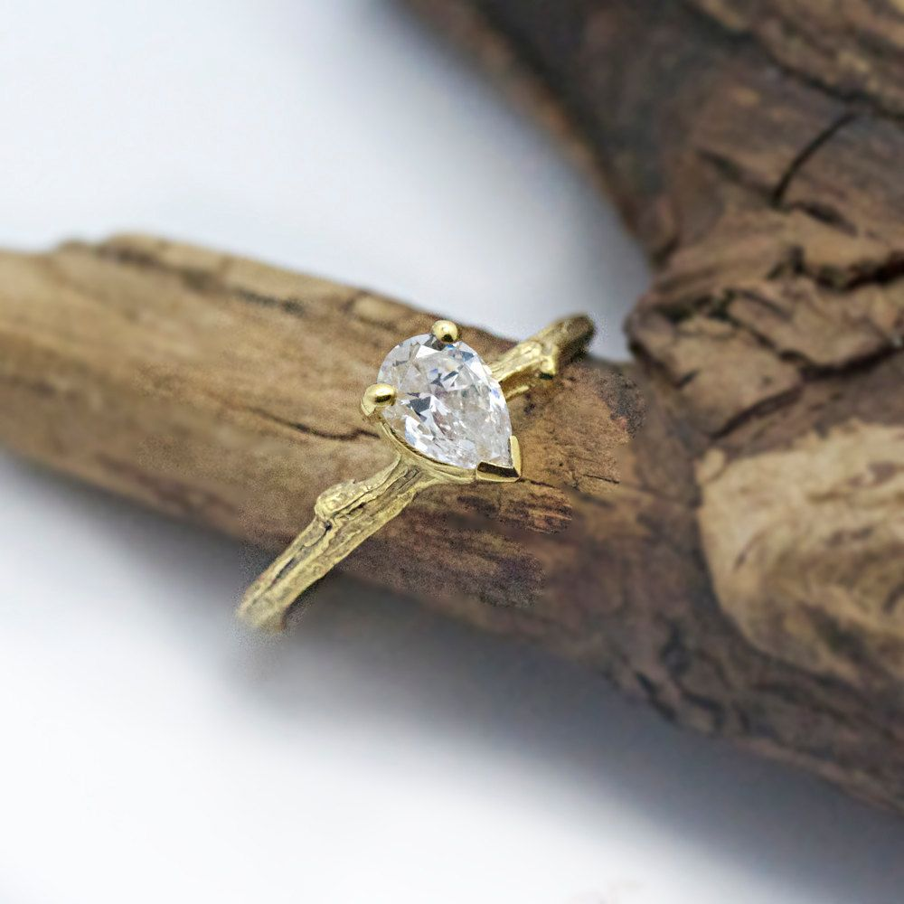 Pear Twig Engagement Ring
