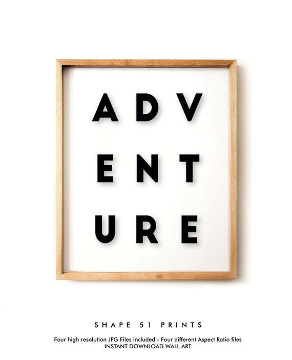 Adventure Print Typography Wall Art Scandinavian Decor Adventure Printable Inspirational Motiva Typography Prints Typography Wall Art