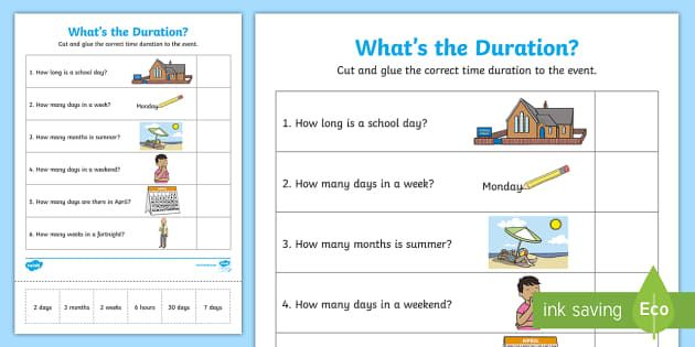 What S The Duration Activity Sheet Year 1 Year 2 Time