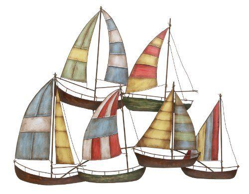 Benzara 13867 Tall Sailboats Nautical Decor Metal Wall Art
