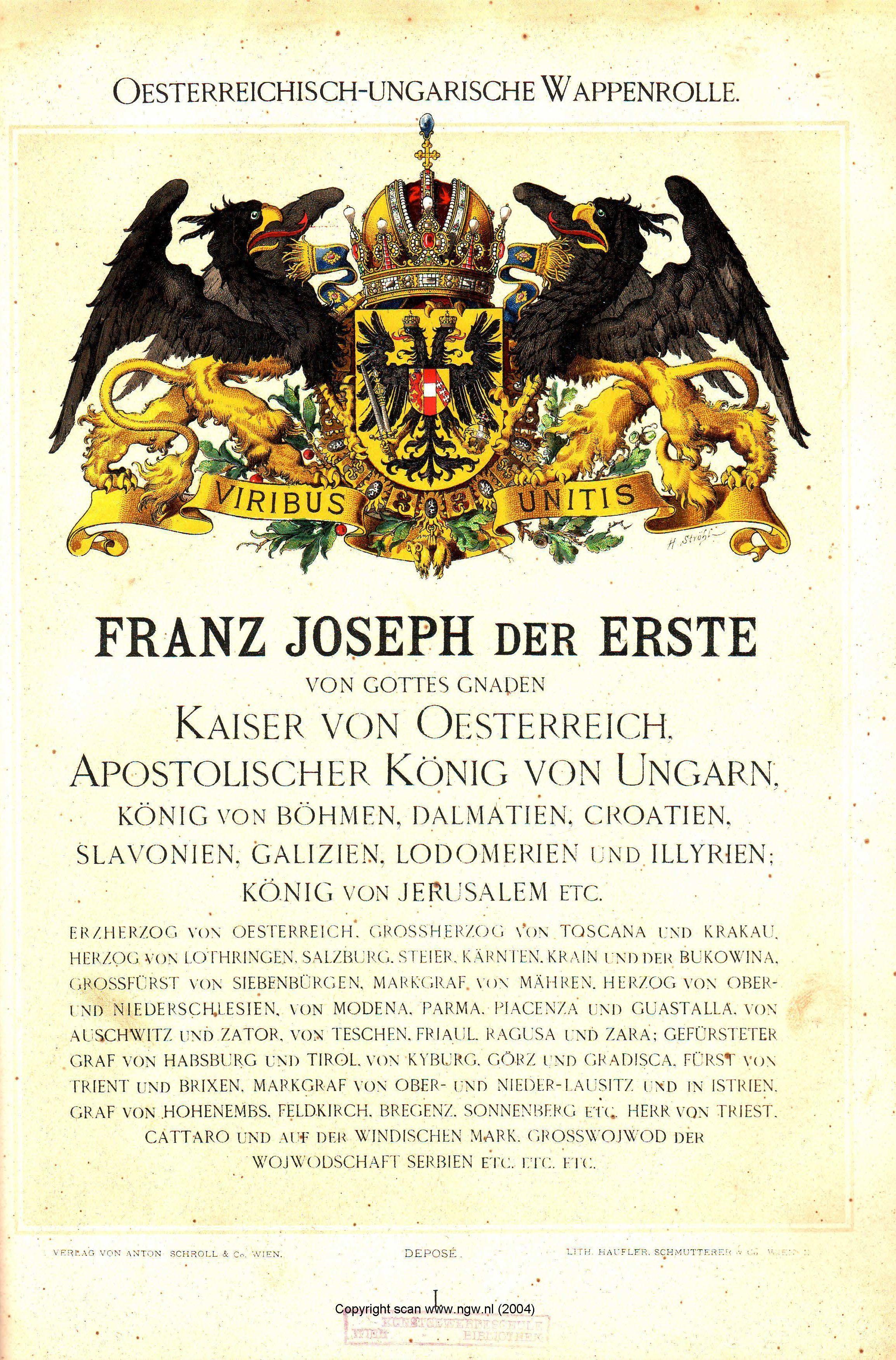 oesterreichisch ungarische wappenrolle von hugo gerhard str hl wien 1890 see also at. Black Bedroom Furniture Sets. Home Design Ideas