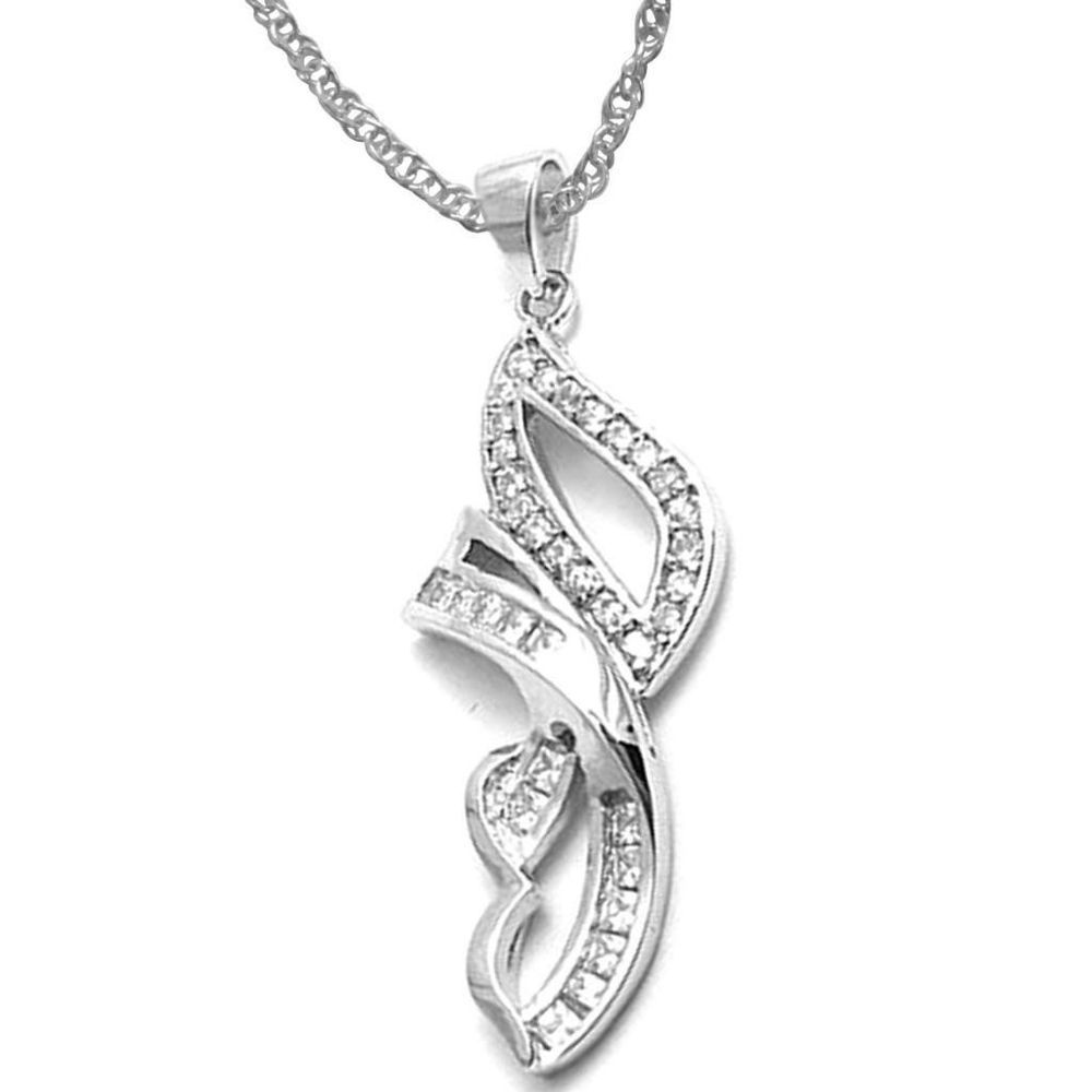 "0.45Ct Round D VVS1 Diamond White Gold Finish Fashion Pendant W/ 18"" Chain #Affinityjewelry #FashionPendant"