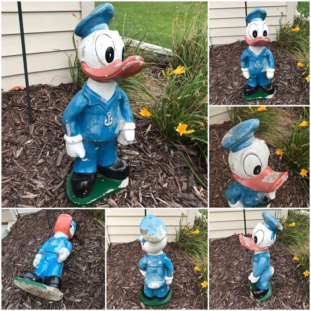 """Donald Duck Concrete 10"""" Garden Statue Shabby Paint Vintage disney"""