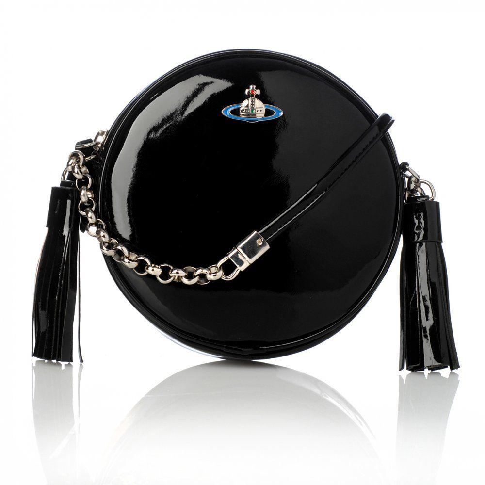 cecf16ed299f1c Vivienne Westwood Anglomania Bag, Black Patent Round Circle Leather Handbag