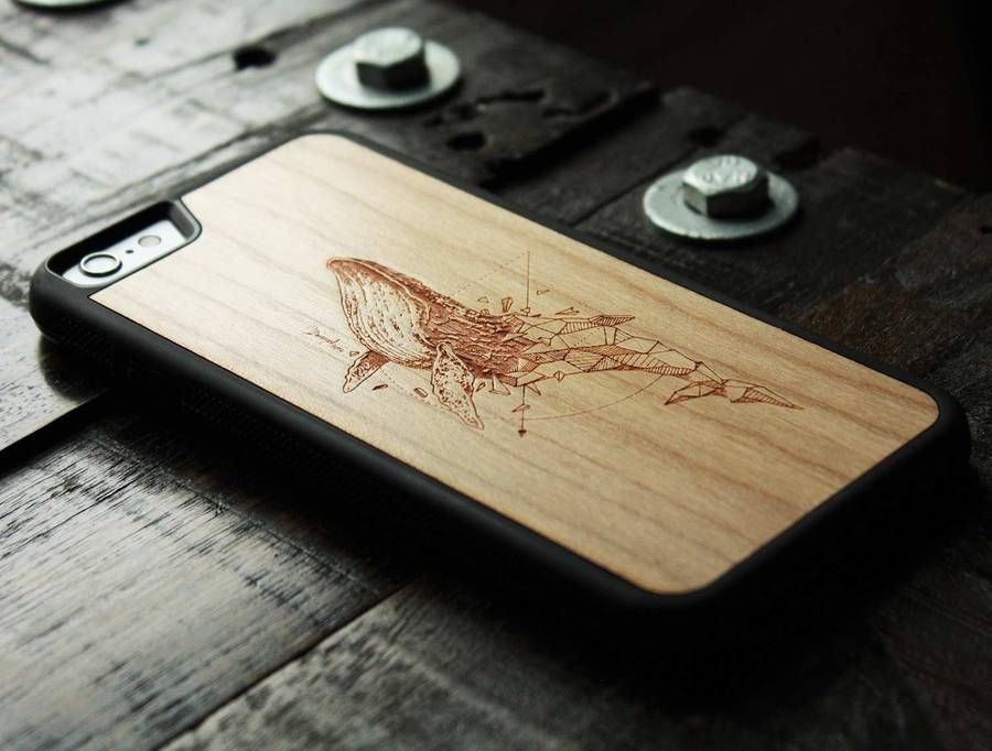 Refined Carved Wood Cases for Phones | Wood phone case. Wood case. Wooden whale