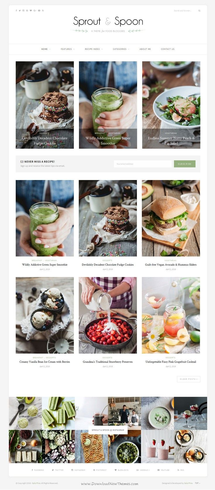 Sprout & Spoon beautiful WordPress Theme for #Food Bloggers #blogging #recipes Download Now!