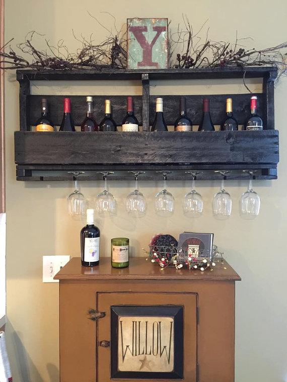 pallet wine glass rack. Pallet Wine Rack With Custom Lettering - Glass Holder Bar Wall Organizer For Glasses And Bottles Y