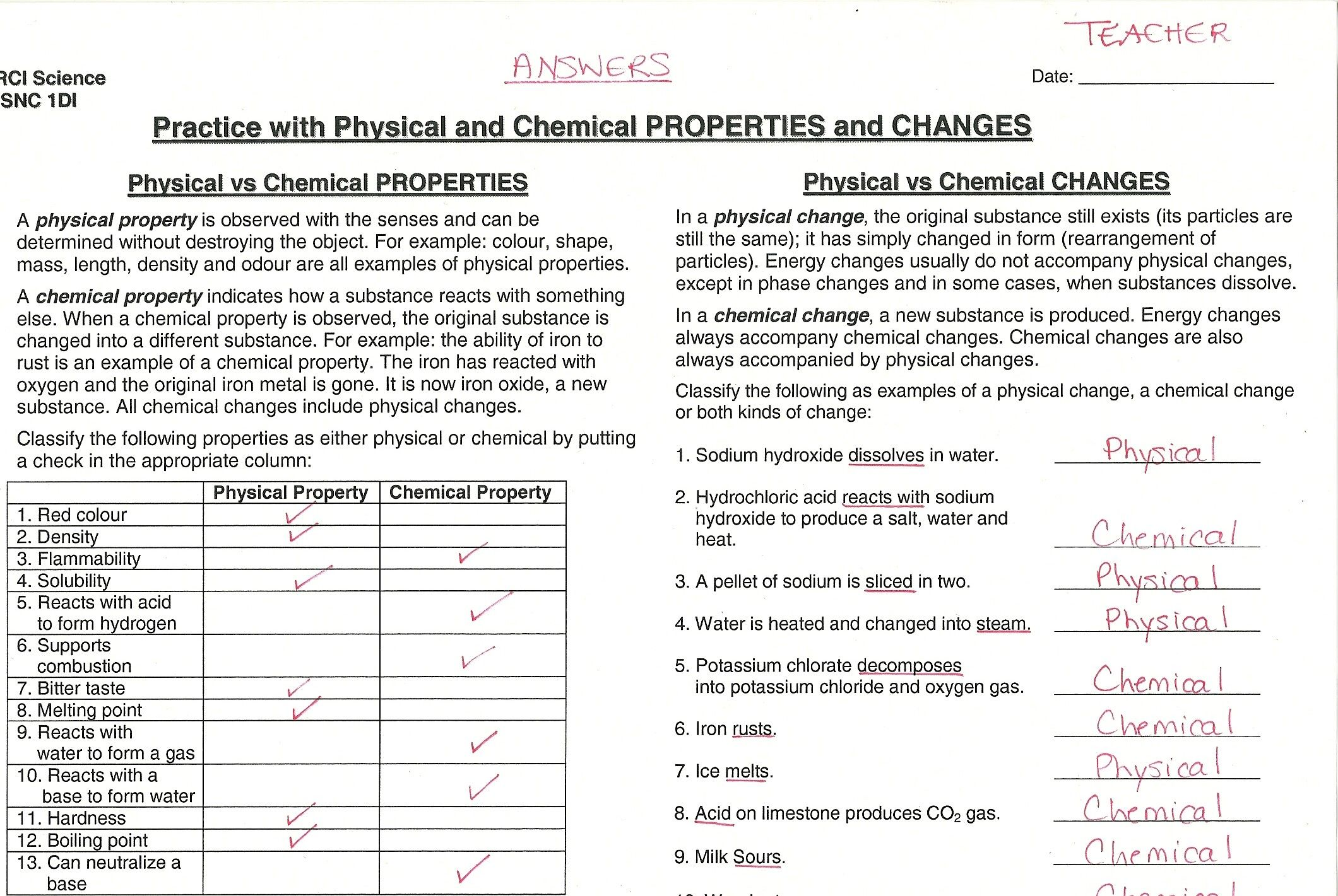 Physical Vs Chemical Changes Worksheet Answers Worksheets