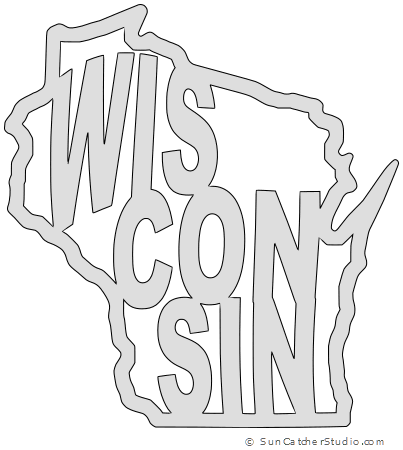 Wisconsin Map Outline Printable State Shape Stencil Pattern Scroll Saw Patterns Free Scroll Saw Patterns Scroll Saw