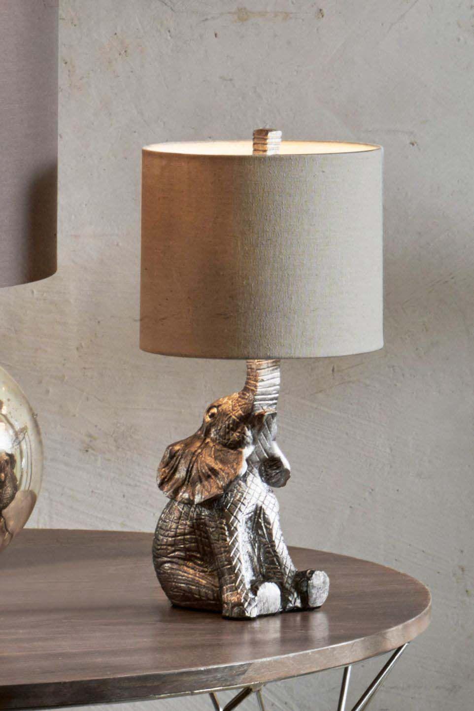 next elephant table lamp  silver  elephant home decor