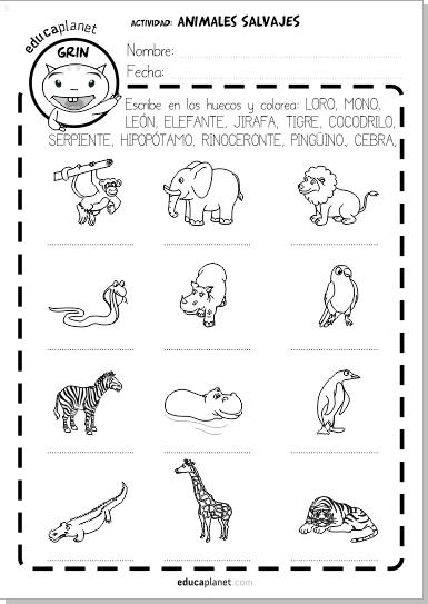 Ficha Animales Salvajes Vocabulario Inglés Y Español Gratis Animales Salvajes Fichas De Animales Animales Salvajes Para Niños