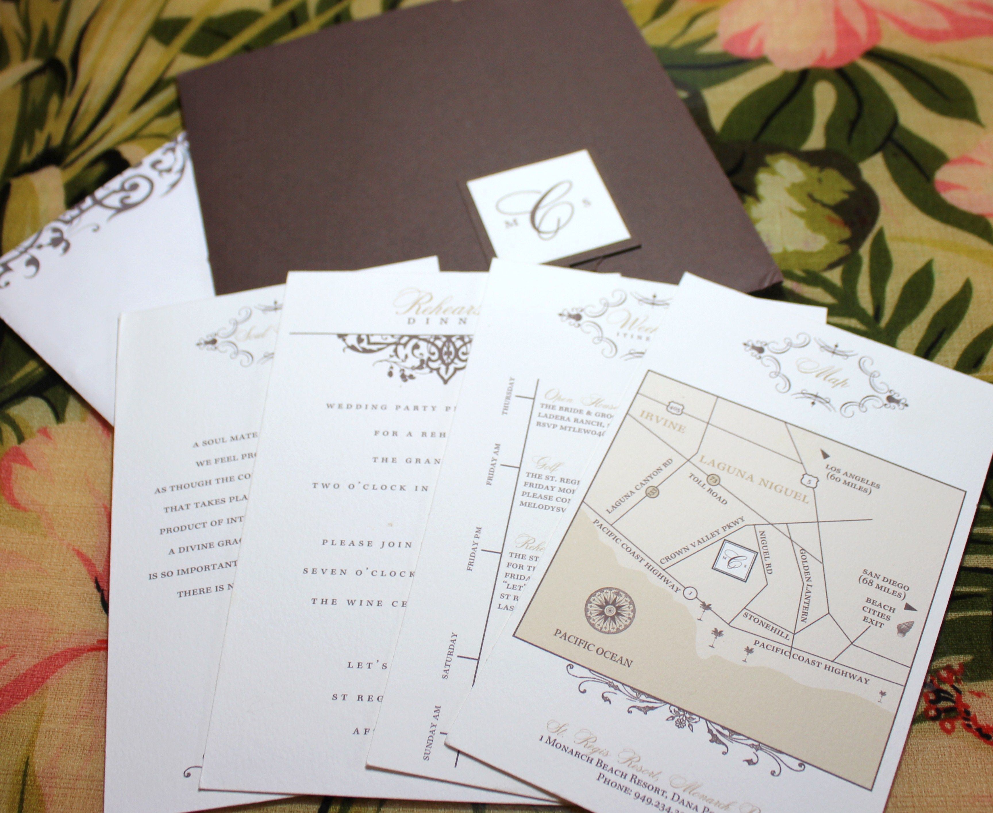Destination Insert Cards - Map, Weekend Itinerary, Rehearsal Dinner ...