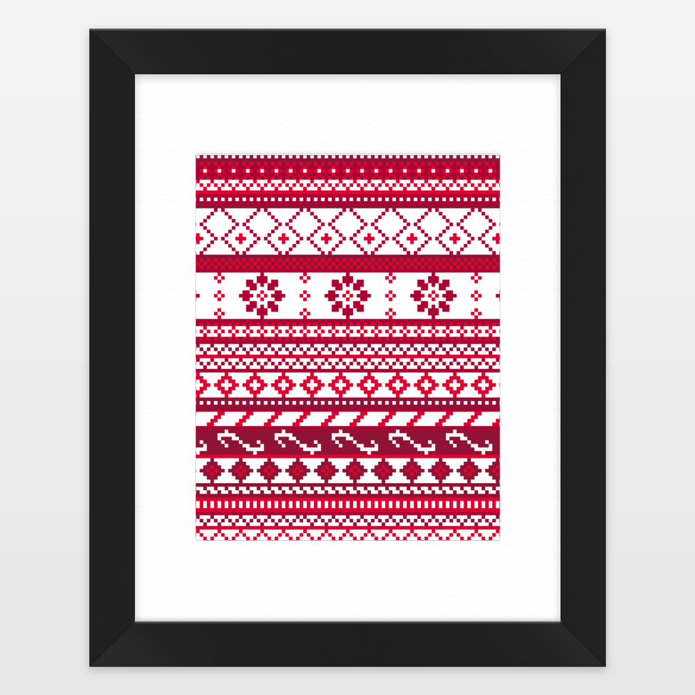 Red Fair Isle Christmas Pattern Framed Art Print by noondaydesign on BoomBoomPrints