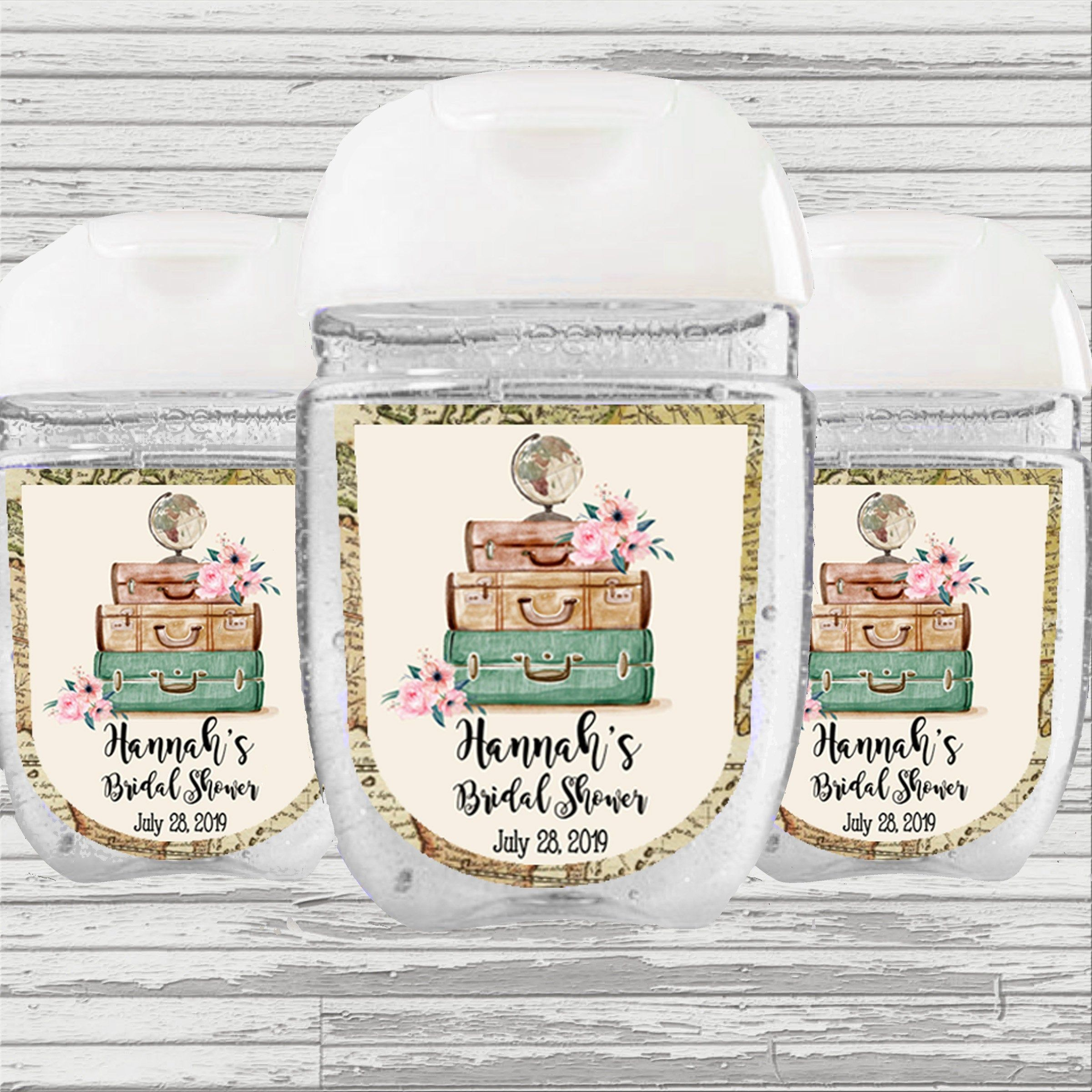 Travel Theme Bridal Baby Shower Hand Sanitizer Label Hand
