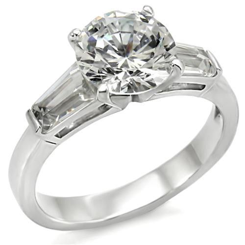 Radiant Brilliant Sterling Silver CZ Engagement Ring