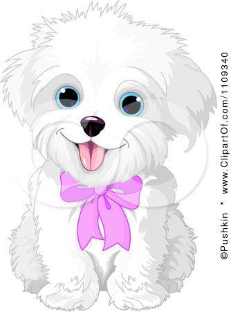 Colored Cartoon Cute Puppy Photo Clipart Cute Bichon Frise Or