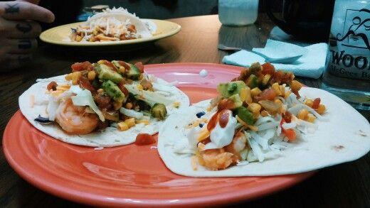 Firecracker shrimp tacos with avocado and corn salsa