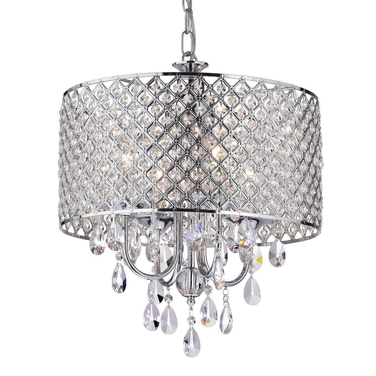 Edvivi Marya 4 Lights Chrome Round Crystal Chandelier Ceiling Fixture Beaded Drum Shade Round Chandelier Round Crystal Chandelier Glam Lighting