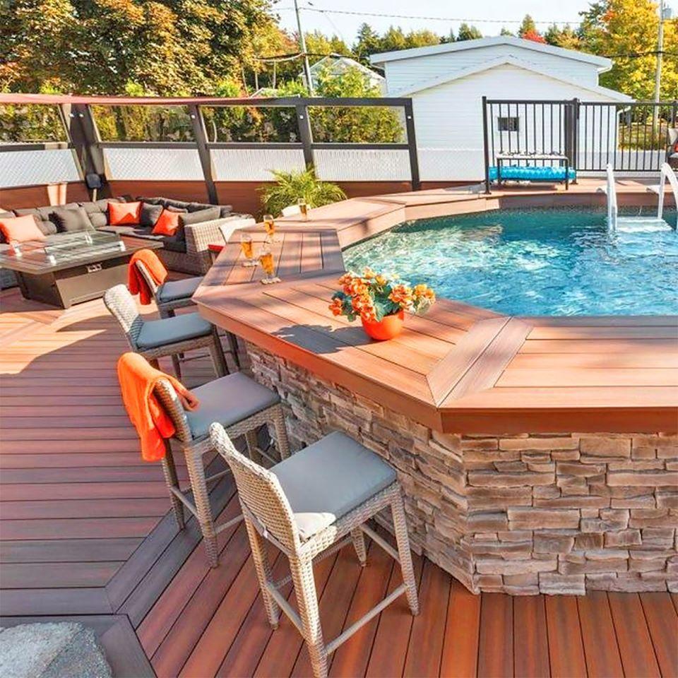 Above Ground Pool with Wraparound Bar   Backyard pool, Swimming ...