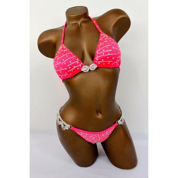 Glittery Lines Bikini Suit ($204) ❤ liked on Polyvore featuring swimwear, bikinis, black, women's clothing, black string bikini, padded triangle bikini, black bikini, triangle swimwear and black bikini swimwear