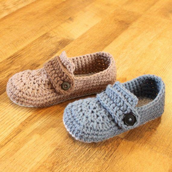 Crochet Mens Slipper Pattern - Opa Slippers (Child/Men sizes: 1-13 ...