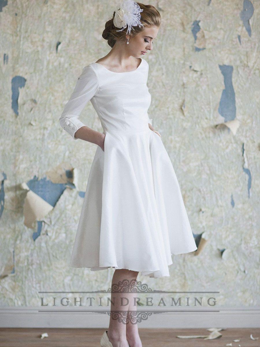 Classic Vintage A-line 3/4 Length Sleeves Tea Length Wedding Dresses ...