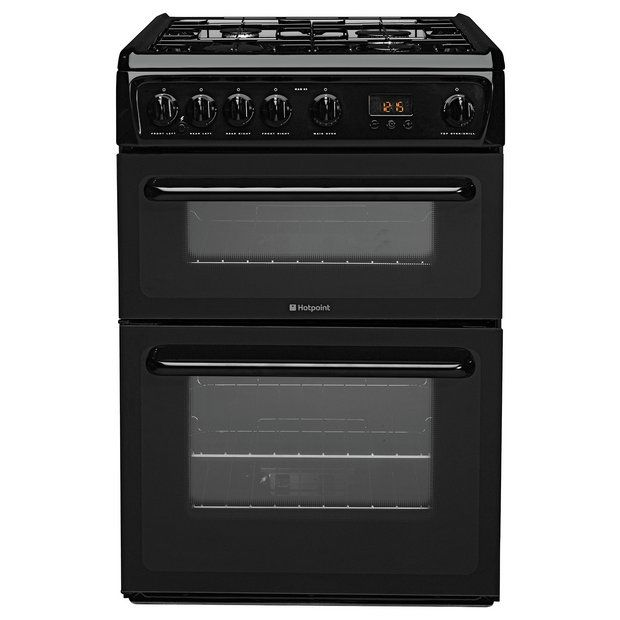 buy hotpoint hag60k double gas cooker black at argoscouk your - Gas Ovens
