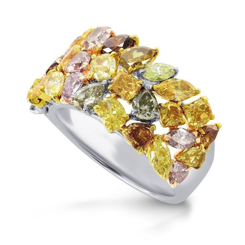 Fancy Color Collage Designer Diamond Ring, (4.53Ct TW) . Masterpiece unique jewelry this ring is a collection of amazing Color Diamonds of various shapes. It is perfect for those who wish to enjoy the glam of luxury jewelry with lots of unique character. A ring like no other!