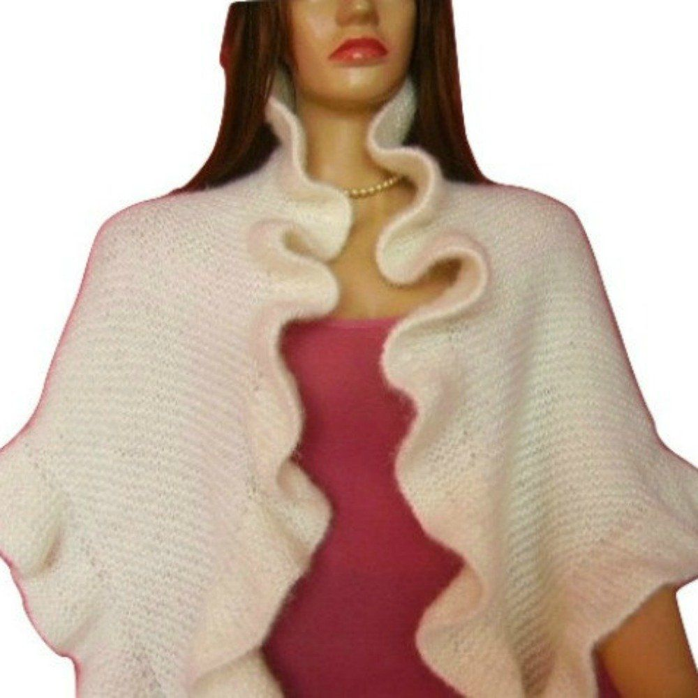 Hand knit white ruffle shawl romantic white colored hand knitted