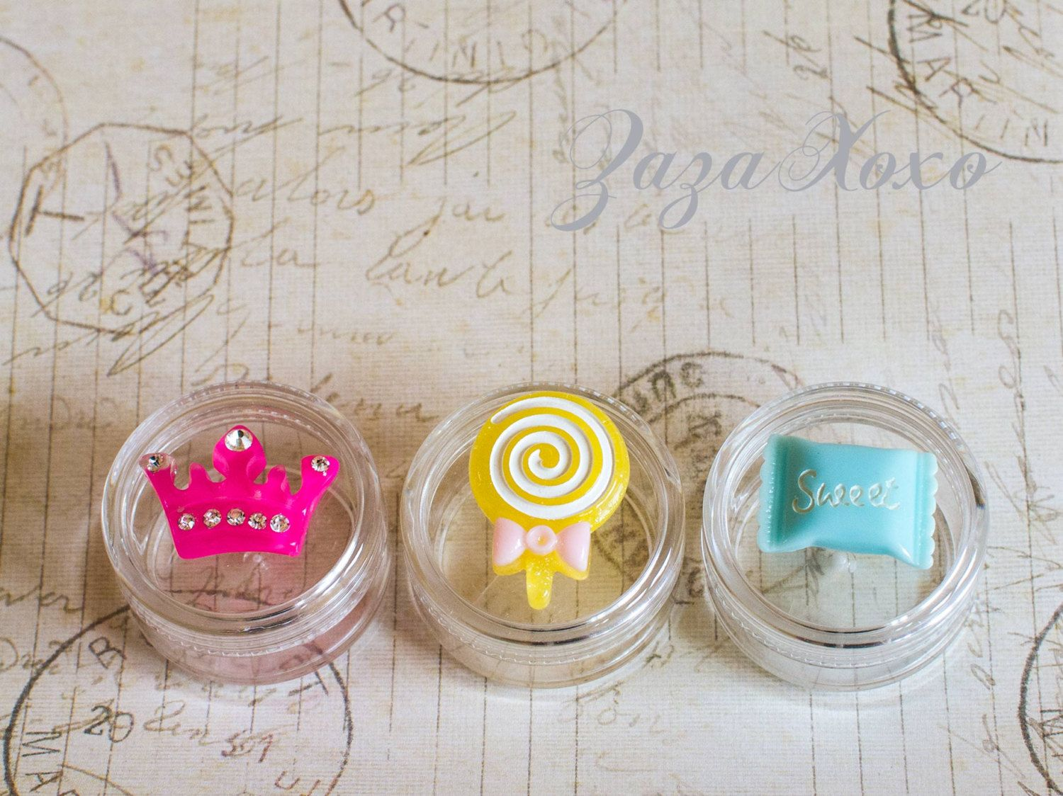Adorable 10g Empty Cosmetic Jar, Colorful Candy Jewelry Container, Princess Party Favor, Vanity Accent, DIY Make Up Container, Set of 3 - pinned by pin4etsy.com